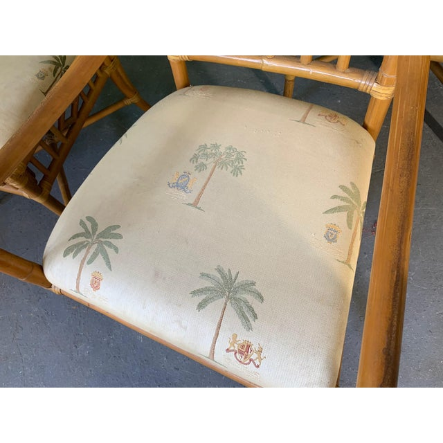 Vintage Rattan Dining Set Table and Four Chairs For Sale - Image 9 of 10