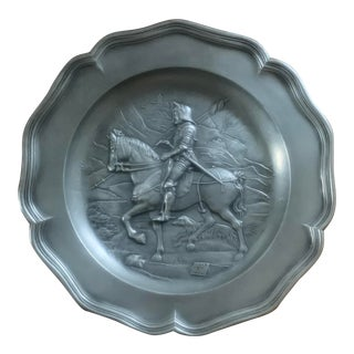 Vintage European Pewter Wall Plate With a Soldier on Horseback For Sale