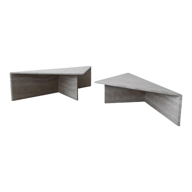 2-Piece Tiered Post-Modern Italian Travertine Coffee Table For Sale