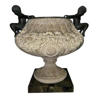 Maitland Smith Cast Stone Urn With Bronze Figures and Marble Base For Sale