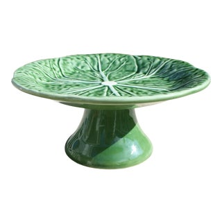 Majolica Style Cabbage Green Pattern Pedestal Plate by Bordallo Pinheiro For Sale