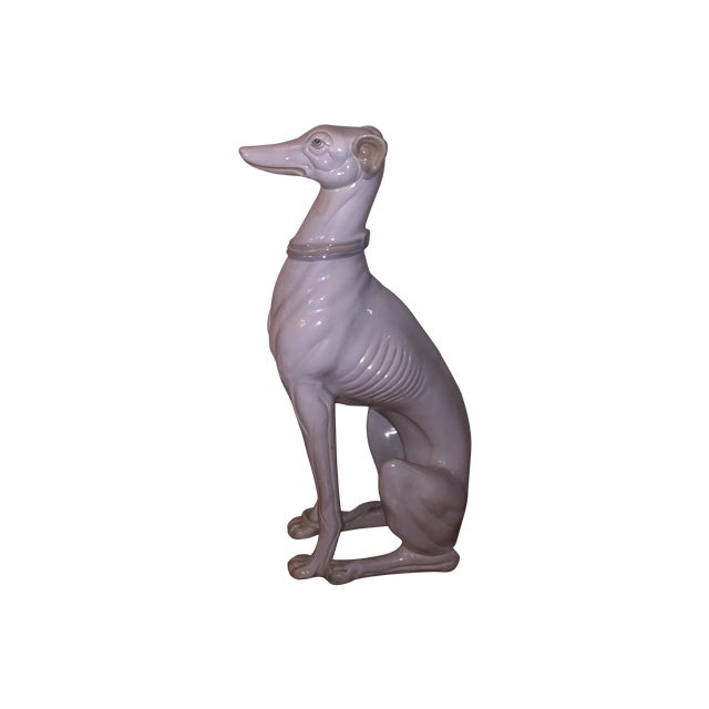 Hollywood Regency Porcelain Greyhound Statue - Image 1 of 4