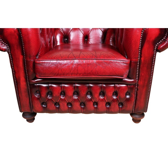 "Professionally Restored Tufted leather Made in England Dimensions: 40""w x 34""d x 30""t Condition: Fully Restored"