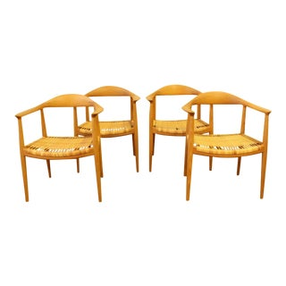 Hans Wegner for Johannes Hansen Round Chairs - Set of 4 For Sale