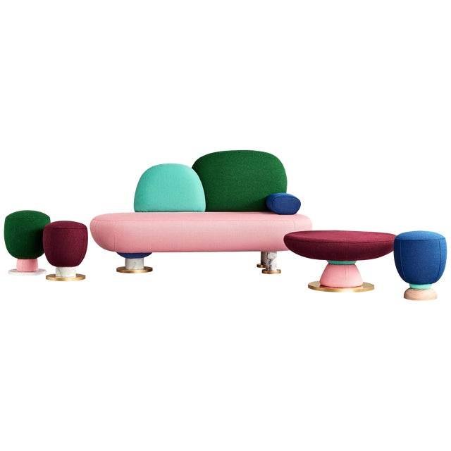 Toadstool Collection Ensemble Sofa, Table and Puffs, Masquespacio For Sale
