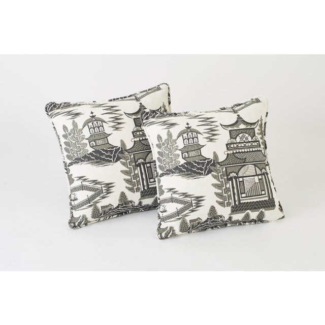 Early 21st Century Schumacher Nanjing Square Smoke Grey 18x18 Pillow - Pair For Sale - Image 5 of 8