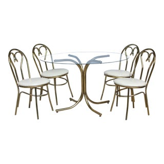 Thonet Style Brass Curlicue Bistro Set For Sale