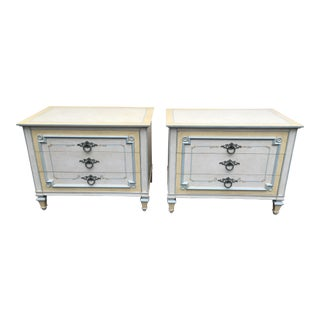 1970s Shabby Chic Johñ Widdicomb White Night Stands - a Pair For Sale