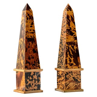 Fabulous Pair of Vintage Pen-Shell/Coconut Shell & Wood Obelisks