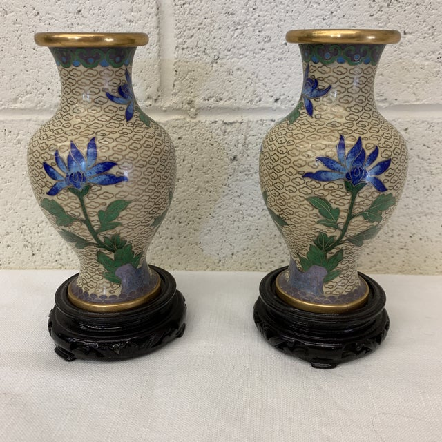 Vintage Chinese Cloisonné Vases -A Pair For Sale - Image 4 of 13