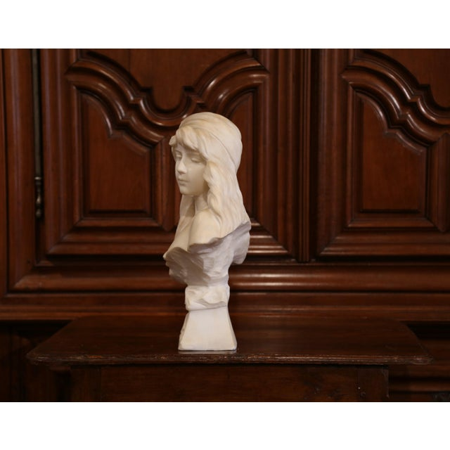 """19th Century French Marble Bust of Young Beauty """"Miarka"""" Signed E. Villanis For Sale - Image 9 of 10"""