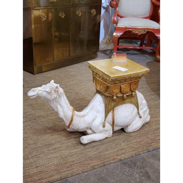 Large Ceramic Camel Plant Stand For Sale - Image 9 of 12