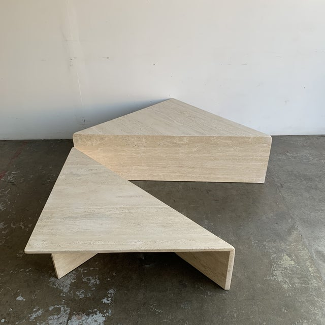 Travertine Triangular Coffee Tables-A Pair For Sale - Image 9 of 13