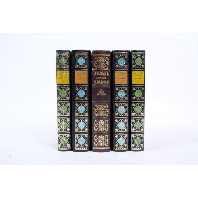 Set of French Leather Bound Books S/5 For Sale In Nashville - Image 6 of 6