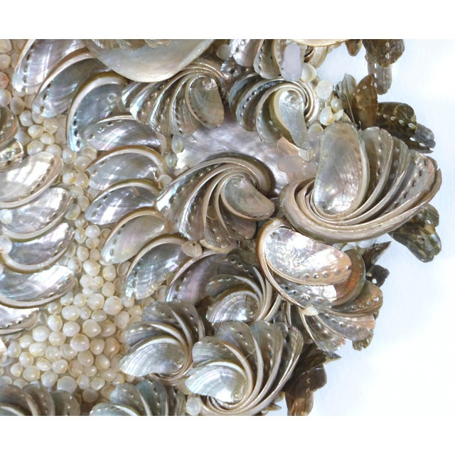 Palm Beach Chic Mother-Of-Pearl Shell Encrusted Mirror For Sale - Image 4 of 13