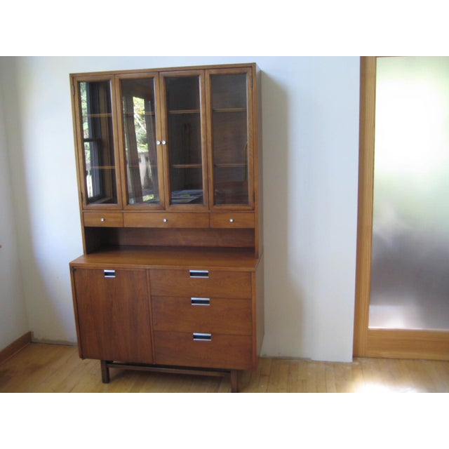 MID CENTURY MODERN WALNUT TWO PIECE CREDENZA PURCHASED IN 1960 and lovingly taken care of by the original owner. The top...