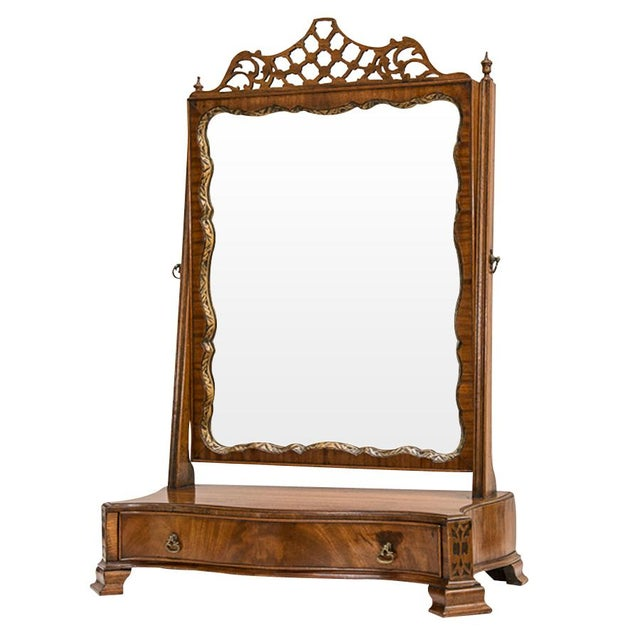 Wood Antique English Walnut Ladies Vanity Mirror For Sale - Image 7 of 7