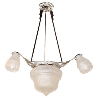 Art Deco Cubist Four-Globe Frosted Relief Glass Chandelier in Silvered Bronze For Sale