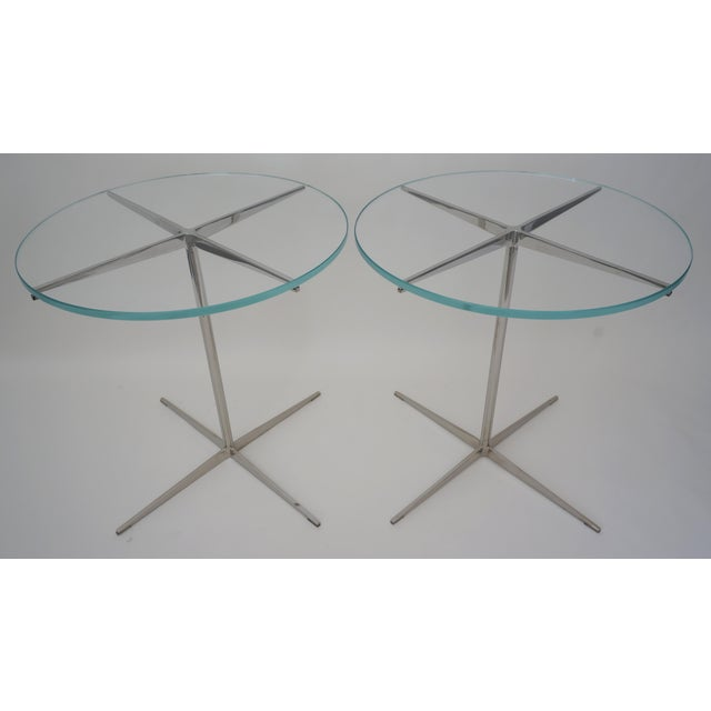 Vintage Drinks or Side Tables Glass on Polished Steel Pedestal - a Pair For Sale In West Palm - Image 6 of 11