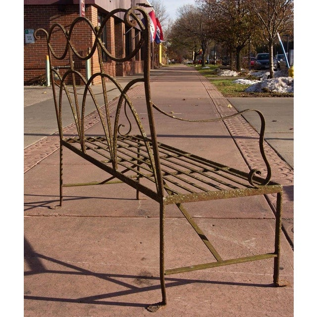 Metal Early 20th Century Neoclassical Wrought Iron Garden Bench For Sale - Image 7 of 10
