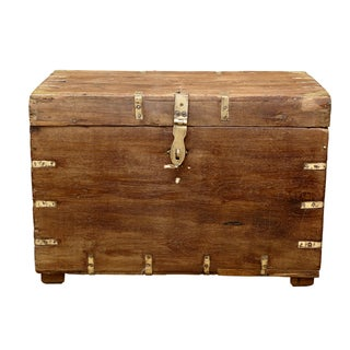 Brass Accented Campaign Trunk For Sale