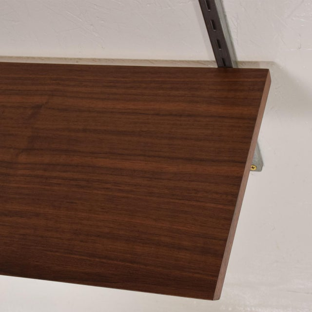 Mid-Century Modern Eames Era Walnut & Aluminum Bookcase Shelving Wall Unit For Sale In San Diego - Image 6 of 10
