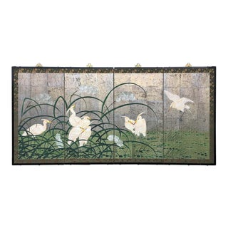 Hollywood Regency Chinoiserie Folding Screen Wall Art Heron Birds Silver Leaf For Sale