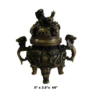 Chinese Brown Foo Dog Lid, Dragons Bronze Incense Burner Preview