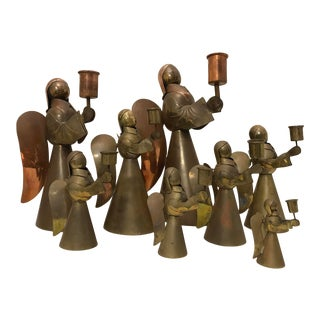 Copper & Brass Angel Candle Holders - Set of 8 For Sale