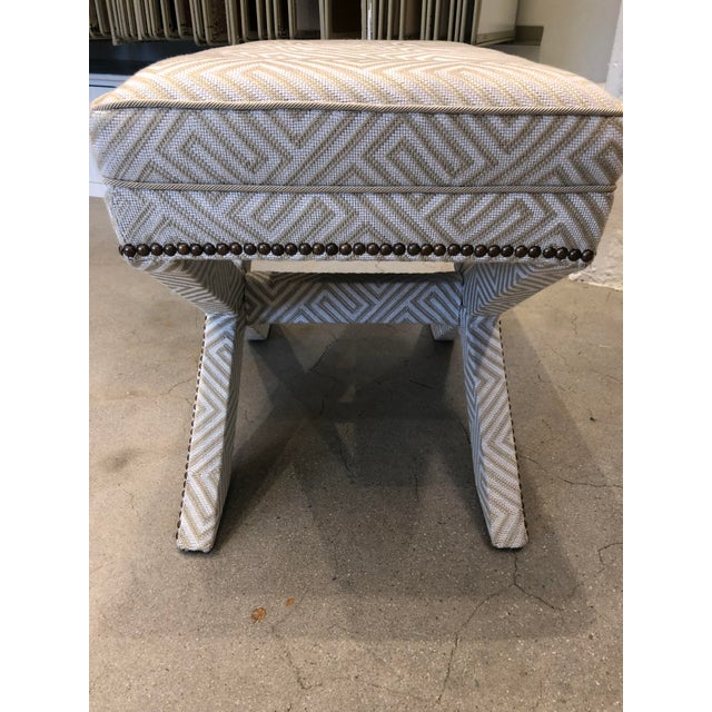 French Transitional Scalamandre Upholstered X Bench For Sale - Image 3 of 12