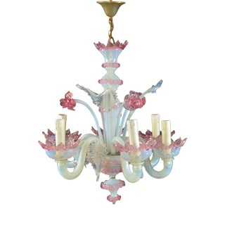 Antique Venetian Six-Light Opalescent Frond and Daffodil Chandelier For Sale