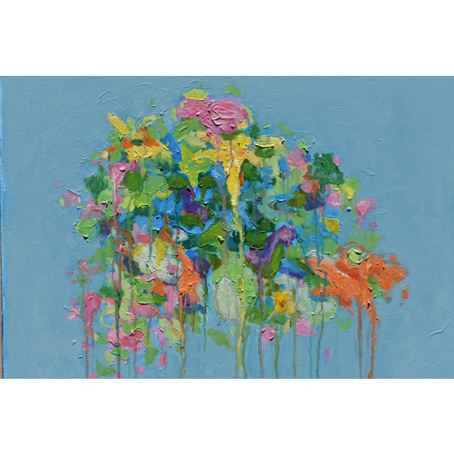 """Canvas Stephen Remick """"Bouquet ~ Out of Many, One"""" (Blue Ground) Contemporary Abstract Painting For Sale - Image 7 of 13"""