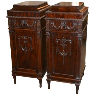 Pair of English Adams Pedestal Side Cabinets For Sale