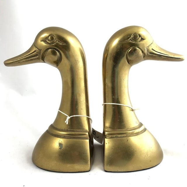 Brass Vintage Mid-Century Modern Brass Mallard Bookends - a Pair For Sale - Image 8 of 8