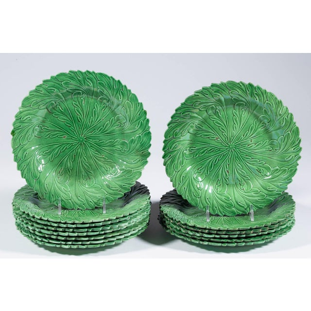 Yorkshire Pottery Green-Ground Plates - Set of 14 For Sale In Philadelphia - Image 6 of 6