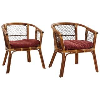 Pair of Midcentury Bamboo Rattan Barrel Chairs
