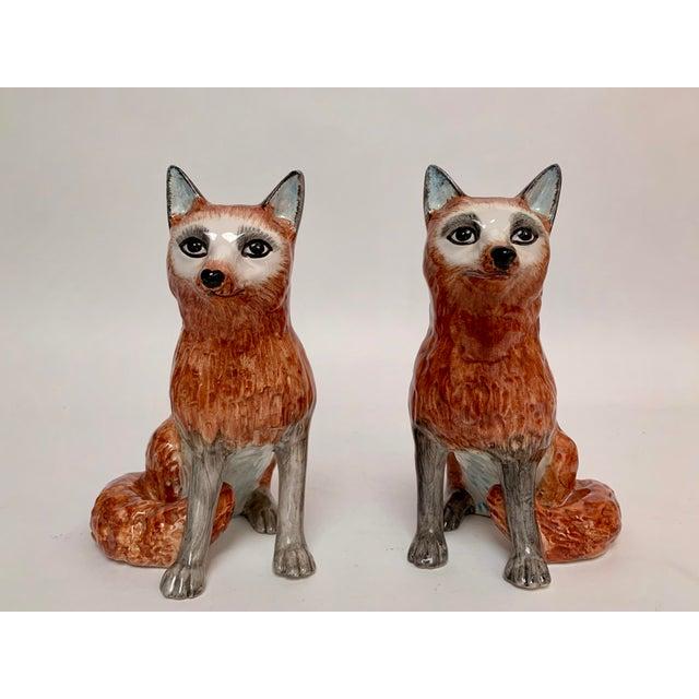 Ceramic Italian Ceramic Fox Bookends – a Pair For Sale - Image 7 of 12