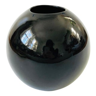 Vintage 80s Modern Black Sphere Vase For Sale