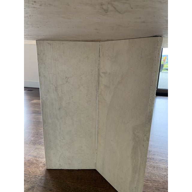 1970s 1970s Hollywood Regency Round Travertine Dining Table For Sale - Image 5 of 11
