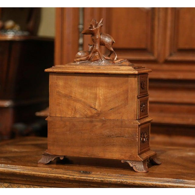 19th Century French Black Forest Carved Walnut Jewelry Box For Sale - Image 12 of 13