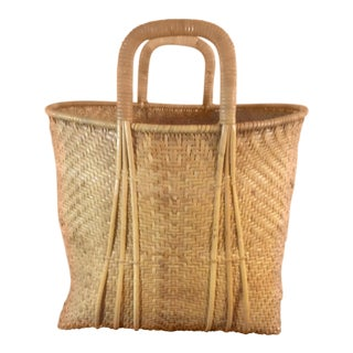 "Vintage Wicker ""Market Tote"" Style Standing Basket"
