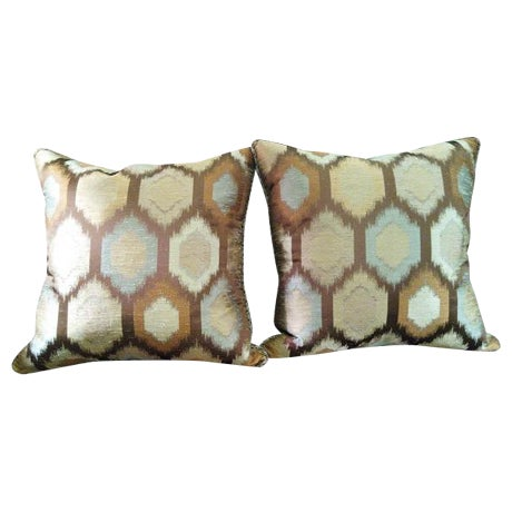 Brown Contemporary Feather Throw Pillows - A Pair - Image 1 of 4