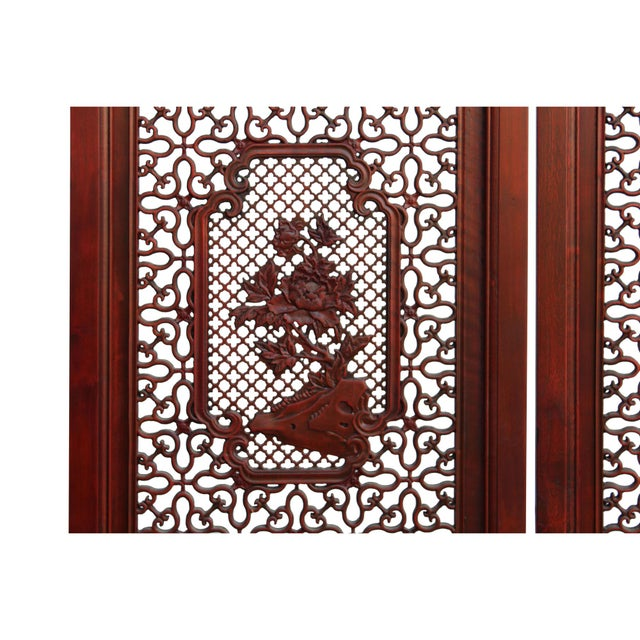 Chinese Reddish Brown Stain 4 Seasons Flower Wood Panel Floor Screen For Sale - Image 10 of 13