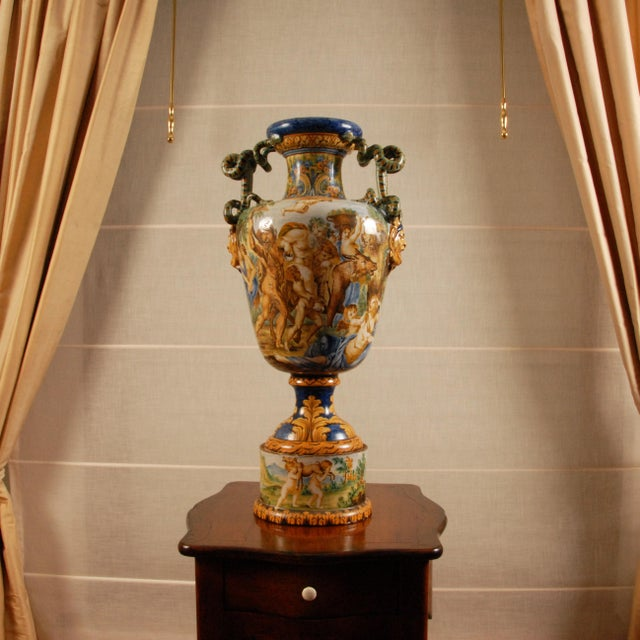 Tall Italian majolica serpentine handles vase with a mythological scene Depicting The Triumph of Bacchus and Ariadne -...