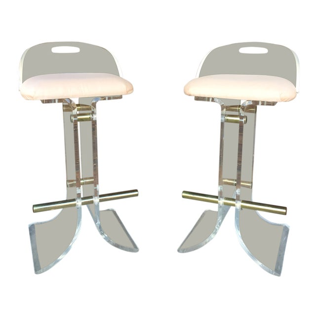 Hill Manufacturing Lucite & Brass Bar Stools - a Pair For Sale