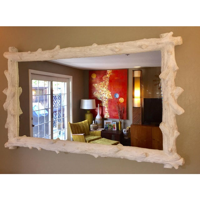 Faux bois mirror by Oly Studios. Cast resin wood grain frame with antiqued, frost white finishes.