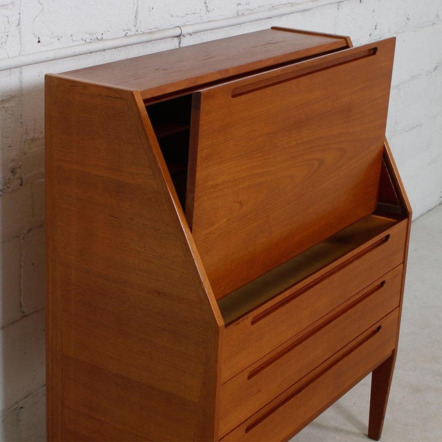 Danish Modern Teak Drop Front Secretary Desk - Image 5 of 10