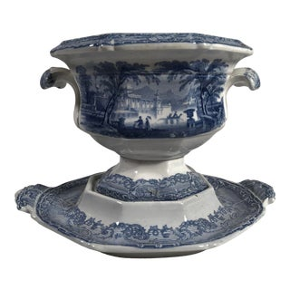 Small Staffordshire Blue and White Tureen/Gravy Boat and Under-Plate For Sale