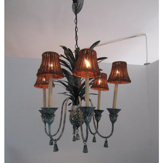 Contemporary Six Lamp Verdi-Gris Pineapple Chandelier For Sale - Image 3 of 7