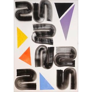 "2021 ""Primary Grid Swirls II"" Postmodern Acrylic Painting by Natalia Roman For Sale"